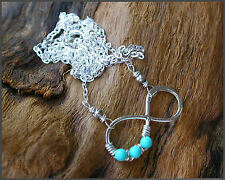 *PI*INFINITY Pendant Sleeping Beauty Turquoise Hill Tribe wrap .925 Sterling!