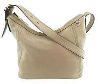 Michael Kors Shoulder Bag Dark Taupe Beige Leather Fulton Medium Handbag