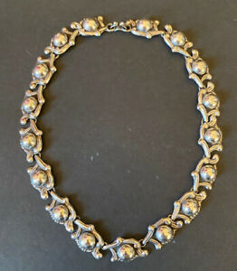Sterling Silver Repousse Necklace Taxco Mexico Mexican