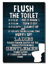 TOILET SIgn, Flush the Toilet Sign, Hurry up Funny Toilet sign,Ladies& Gentlemen