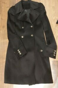 Harrods cashmere wool blend trench coat  military navy S/UK8 Excellent condition