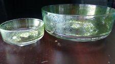 Vintage Mid Century Modern Green Art Deco Starburst Chip And Dip Bowl Set