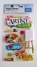Art Class Artist Paint Pallet Brush Easel Paper House 3D Stickers