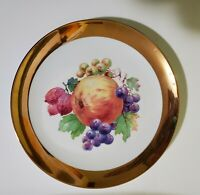 "CROWN IMPERIAL GERMANY Plate with fruit 10"" GOLD TRIM"
