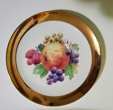 """CROWN IMPERIAL GERMANY Plate with fruit 10"""" GOLD TRIM"""
