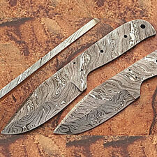 WHITE DEER Blank Blade 9in FULL PATTERN Damascus Hunting Skinner Knife DIY Maker