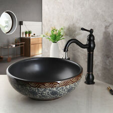 Blue&White Ceramic Bowl Round Bathroom Vessel Sink Basin +Black Oil Faucet Set