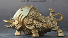 Lucky China fengshui brass wealth money coin zodiac Ox bull Cattle Animal statue