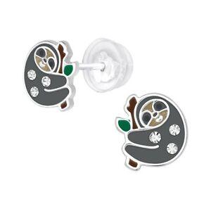 925 Sterling Silver Crystal Sloth Stud Earrings