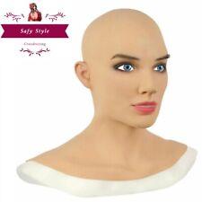 Silicone Female Head Mask Headgear For Masquerade Crossdresser Cosplay Halloween