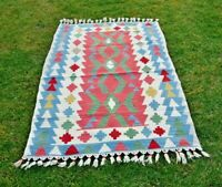 Kilim Turkish Oushak Rug Weave Wool Carpet 3x5ft Traditional Anatolian Handmade