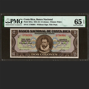 Banco Nacional de Costa Rica 2 Colones Feb. 1944 PMG 65 EPQ GEM UNC P-201a