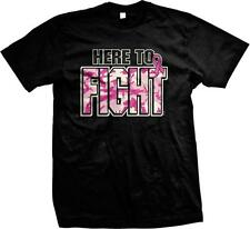 Here to Fight! Pink Ribbon-Support the Fight - Cure Cancer Mens T-shirt