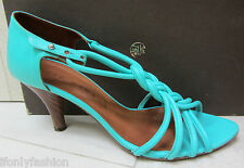 CHI MIHARA SPAIN Braided Azul Teal Blue T Strap Sandals Shoes 39.5
