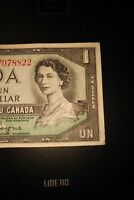 1954 Devil's Face $1 Dollar Bank of Canada Banknote MA7078822