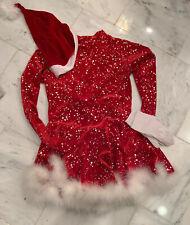 Jerry's red velvet ice figure skating dress Medium -Large Holiday show!