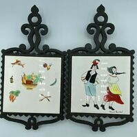 Cast Iron Footed Trivets Vintage Tiles Hand Painted Crown Japan Dutch Vegetables