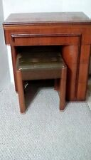 Vintage Singer Art Deco Streamline Sewing Cabinet With Original Bench Seat