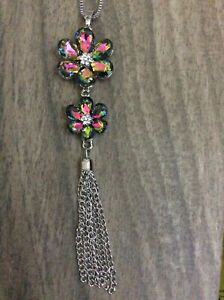 """Betsy Johnson Topaz Crystal Flowered Pendant on Silver 28"""" Long Necklace New!"""