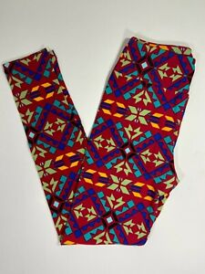 LulaRoe Leggings OS / RED with MULTICOLORED Aztec Prints