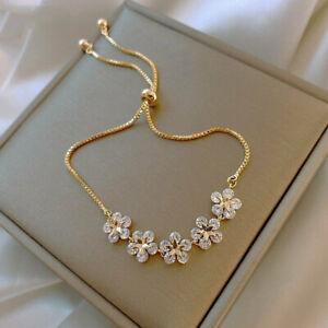 Fashion 925 Silver Flower Zircon Bracelet Chain Bangle Women Wedding Jewellery