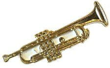 Gold Plated 30mm Trumpet Metal Badge Jazz SKA Music Musical Instrument Lapel Pin