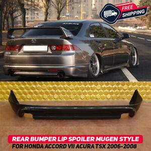 Rear Bumper Lip Spoiler Splitter For Honda Accord 7 Acura TSX 06-08 Mugen Style