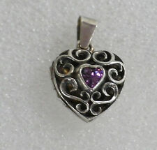 Vintage 925 Sterling Silver Scroll Amethyst Heart Small Locket Pendant