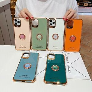 Bling Plating Shockproof Soft Case Ring Holder For iPhone 12 Pro Max 11 XS XR 78
