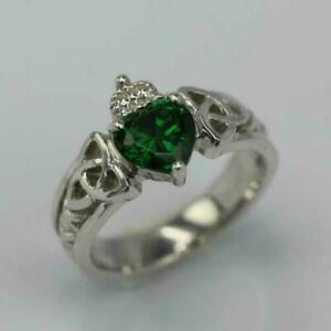 2Ct Heart Shape Green Emerald Claddagh Engagement Ring 14K White Gold Over