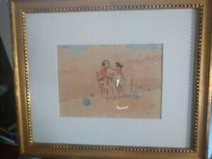 Leonard Reedy  Watercolor , INDIAN SCOUT, 8×11 inch,framed 20×17