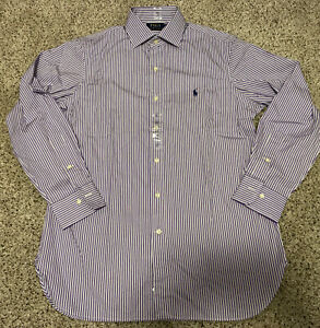 Ralph Lauren Polo Purple Stripe Long Sleeve Dress Shirt 15.5 32/33 NWOT!