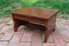 "CUSTOM 20"" Handcrafted HeavyDuty Wood Step Stool Bedside Bed Bathroom E Chestnut"