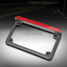 Black Motorcycle Aluminum License Plate Frame LED Brake Light For Universal