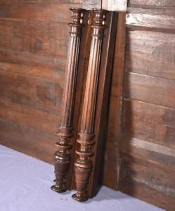 "27"" Pair of French Antique Walnut Wood Posts/Pillars/Columns with Backings"