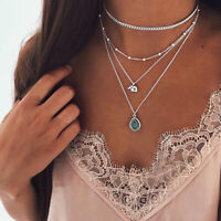 Women Necklace Multi-layer Long Chain Elephant Pendant Crystal Choker Jewelry 8C