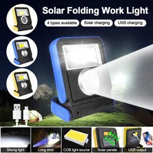 Solar COB LED Work Light USB Rechargeable Flood Spot Emergency Lamp Lantern IP65