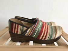 Dansko 37 Clog Vegan Fabric Multi Color Striped Clogs US Size 6.5 7