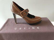 CELINE TAN LEATHER PLATFORM PUMPS.  4 1/2 Inch Heel. Made in Italy