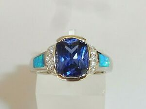 Ladies Sterling 925 Solid Silver Opal Sapphire & 2 Ct Cushion Cut Tanzanite Ring