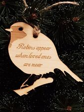 Birch Christmas Xmas Remembrance Bauble Robins Appear - Laser cut wood