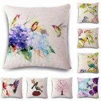 Flowers birds Linen Cotton Sofa Throw Pillow Case Cushion Cover Home Car Decor