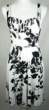 Speechless Womens Small Dress White Black Floral Sweetheart Neck Pleated Party