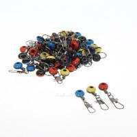 60pcs Fishing Tackle Running Ledger Zip Slider Beads Snap Links Swivels S/M/L