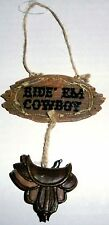 Country and Western Christmas Ornament RIDE EM COWBOY SIGN W/ SADDLE