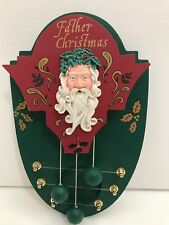 Vintage Father Christmas Door Chime 3 Bell Wood House of Lloyd Wall Hanging