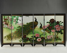 GOOD CHINESE LACQUER HANDWORK PAINTING PEACOCK FOLDING DECORATION SCREEN