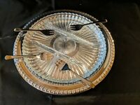 Leonard Silver Vintage round relish dish (silver plated) w/ divided glass insert