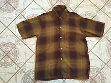 VTG 1950'S RAYON SHIRT SHADOW PLAID ARROW CHEVELLA ROCKABILLY Size L