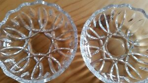Two Vintage Royal Crystal Rock Crystal Pin / Trinket Dishes